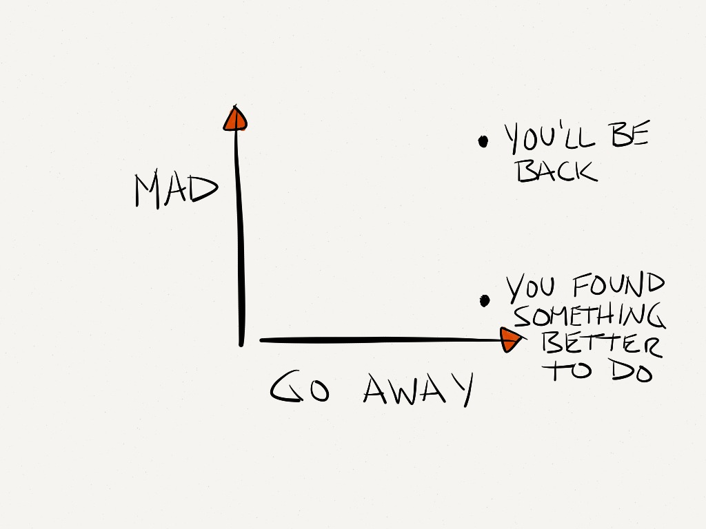 Don't go away mad, just go away