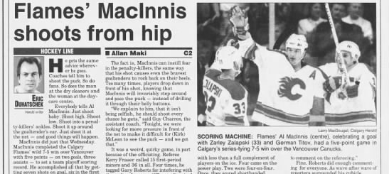 Throwback Thursday This Week In 1994 Al Macinnis Scores Five Points As Calgary Flames Beat Vancouver Canucks